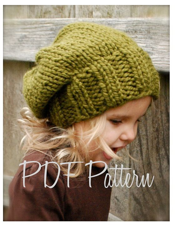 The Sydnie Slouchy pattern (Toddler/Child/Adult sizes) by Thevelvetacorn, $5.50 etsy.com #knitting #pattern