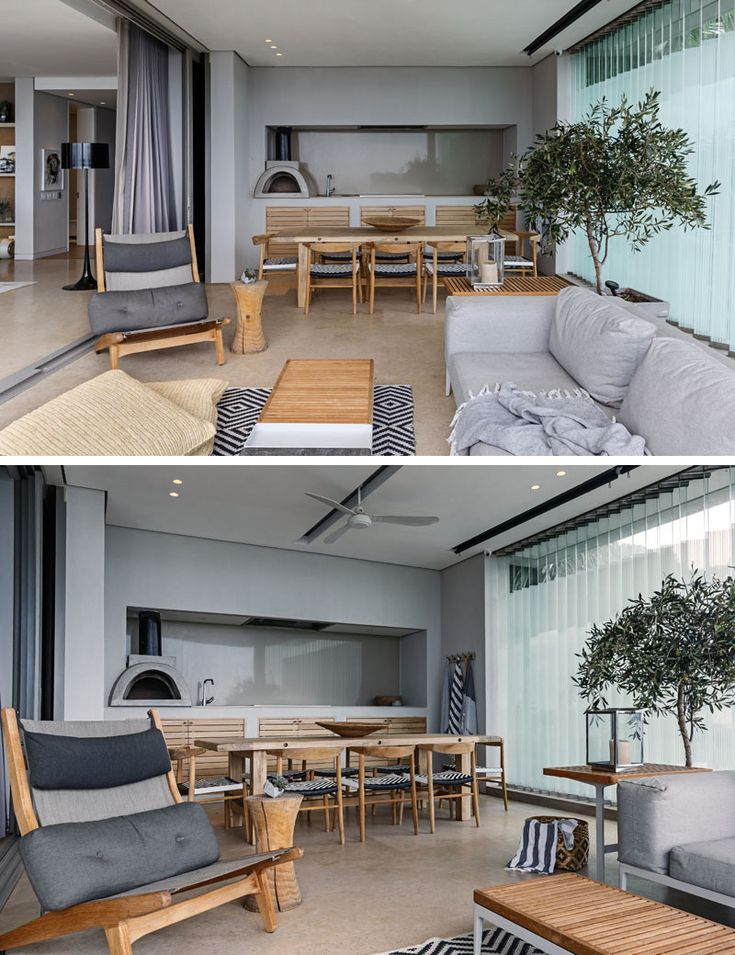 This modern lounge area has a casual dining area with a kitchen, pizza oven, and is enclosed in glass. #salas #livings