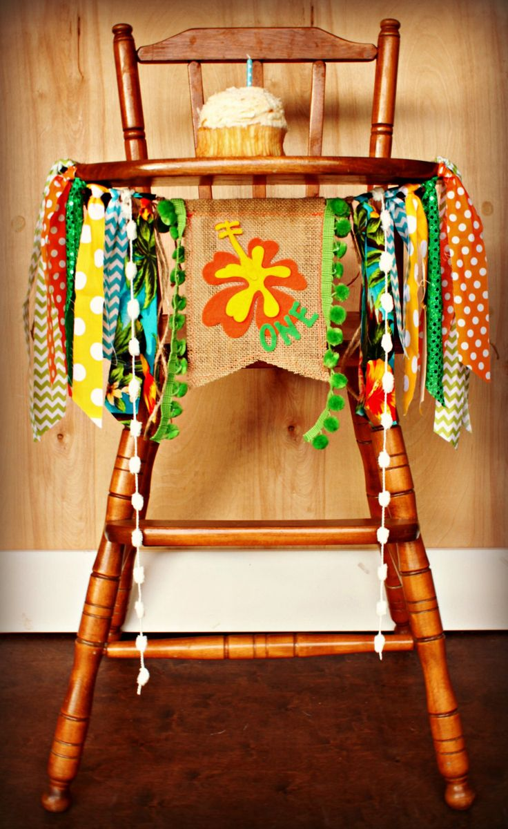 Hawaiian Boy Luau Birthday Age HIGH CHAIR by RawEdgeSewingCo, $29.95