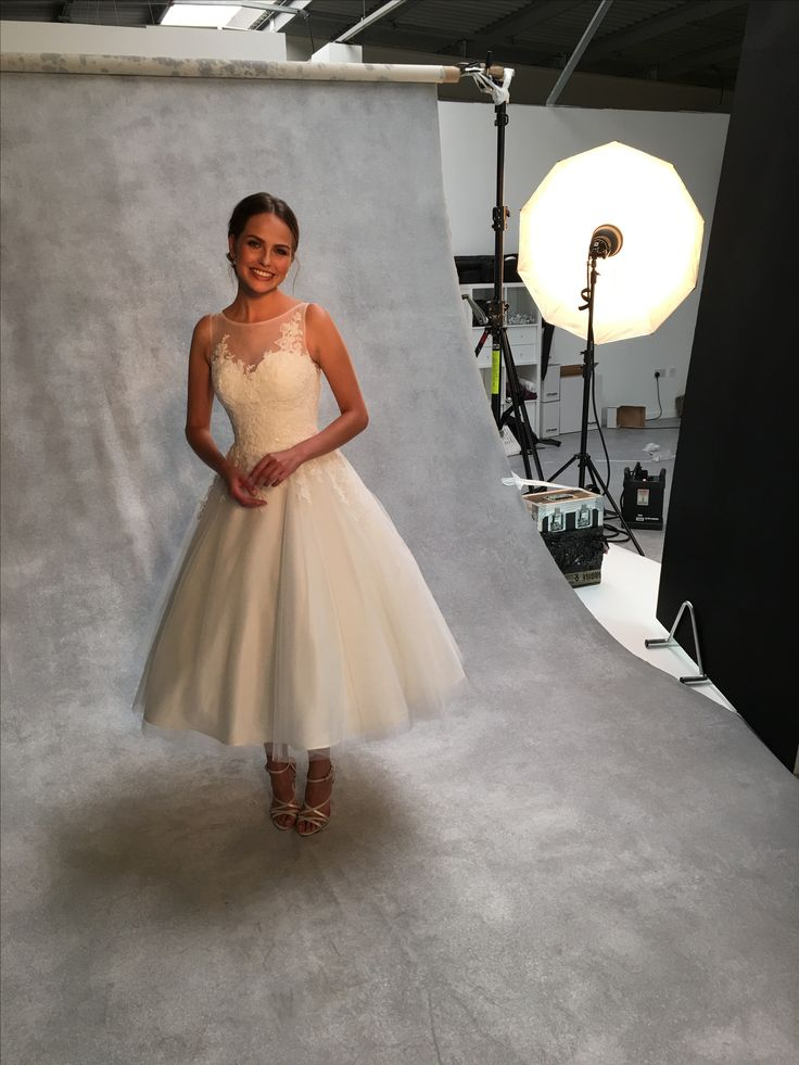 The adorable 'Eva' by Anna Sorrano on set at one of our photoshoots ✨ A beautiful lace and tulle tea length dress for a modern vintage look ✨ Could this be 'the one' for you?