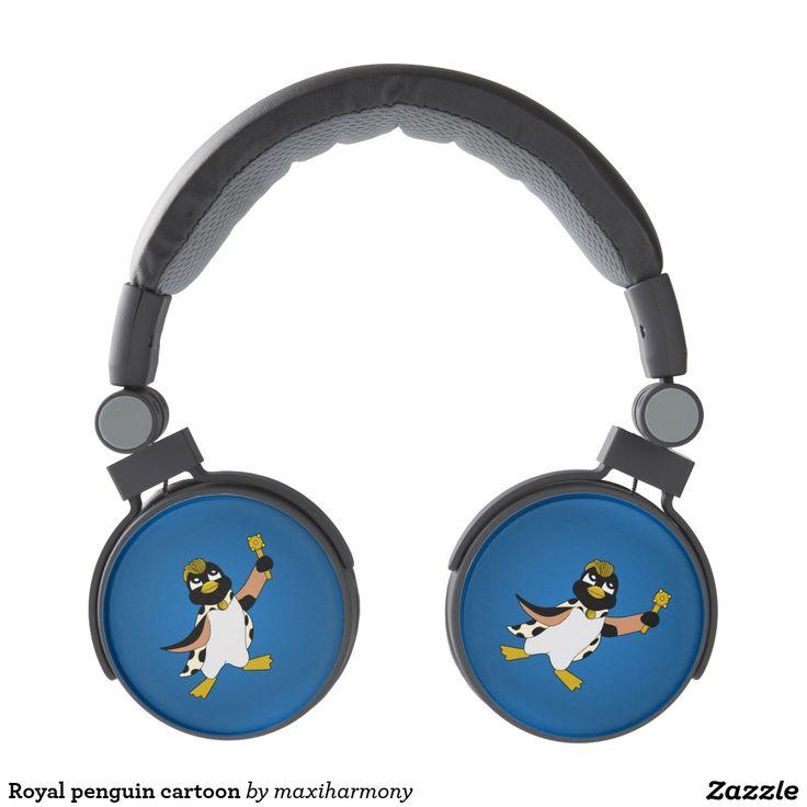 Royal penguin cartoon headphones