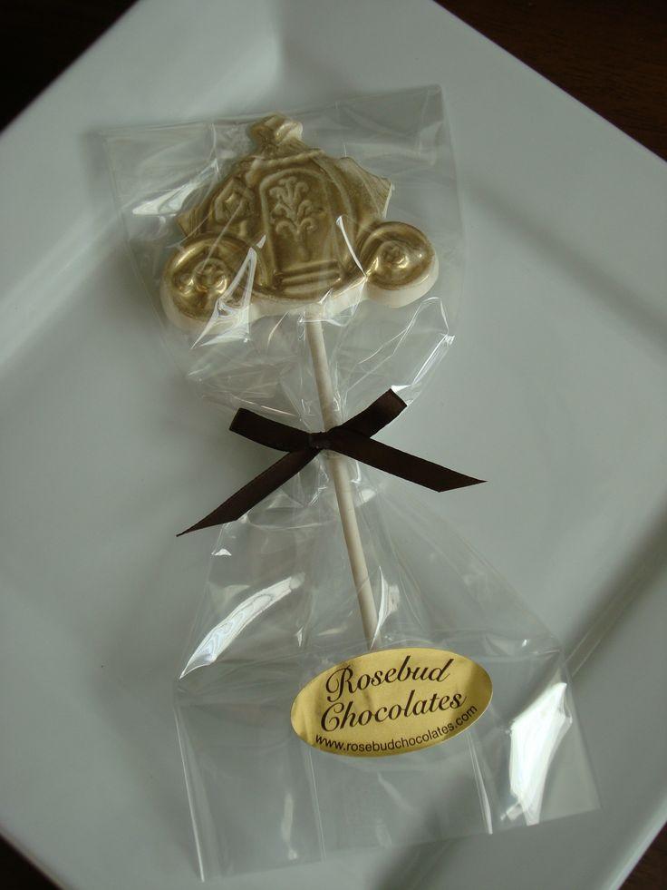 Cinderella Coach Chocolate Lollipop Fairy Tale Wedding Candy Favor Gold