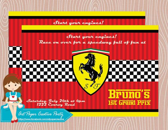 10 Ferrari birthday invitation. Choose between by ArtPaperParty