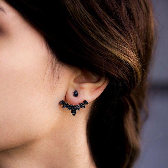 Silver Black Zirconian Front and Back Post Earring, Ear Cuff Earring, Silver Double Sided Earrings,Turkish Handmade Jewelry
