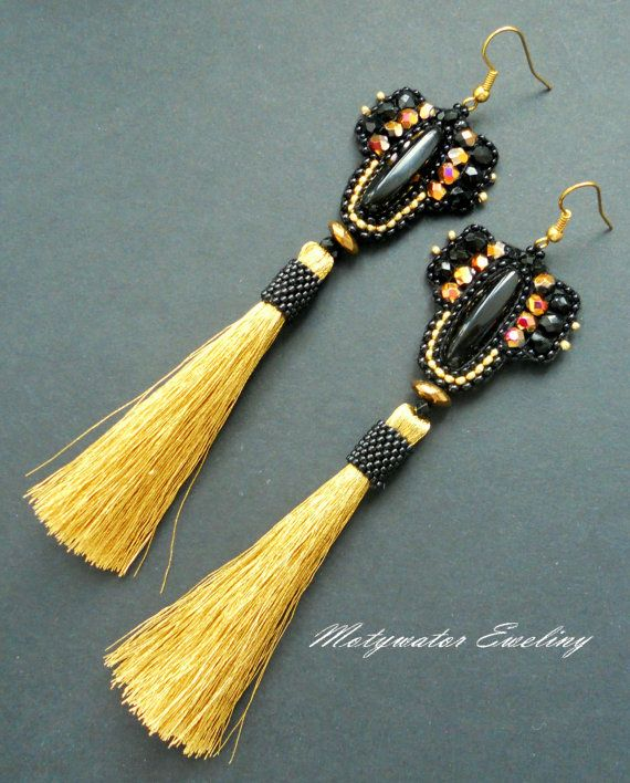 Darken Golds Earrings with Golden Tassels and Plated Hematite