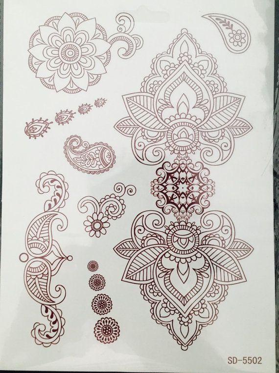 Temporary Henna Tattoos by GlamorousPosers on Etsy