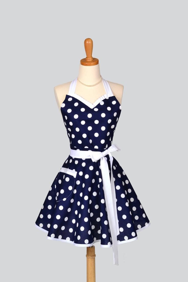 White apron auckland - Sweetheart Retro Apron Nautical Navy Blue White Polka Dot Womens Pinup Flirty Kitchen Apron With Pocket To Personalize Or Monogram