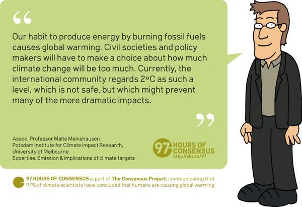#97Hours of Consensus: Scientist #67/97 Malte Meinshausen on human-caused global warming