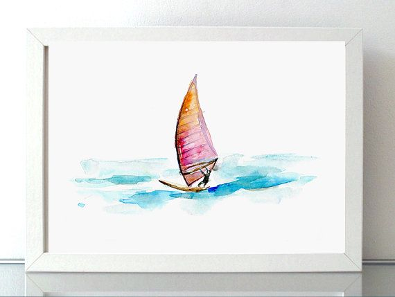 WindSurf schilderij aquarel Giclee Print surf door Zendrawing