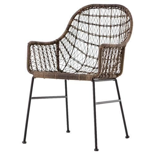 Woven faux wicker takes center stage in this outdoor dining chair, a time-honored design updated by slender industrial iron legs. Perfect for entertaining both indoors and out, it offers easy versatility and modern style.