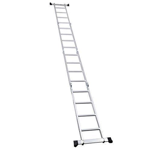 Step Platform Multi Purpose 330 Pound 15.5 Foot Aluminum Folding Scaffold Ladder by Giantex