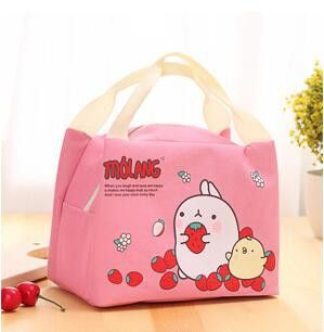 Cute Molang Rabbit Canvas Lunch Thermal Bag Portable Insulated Food Picnic Bags Cooler