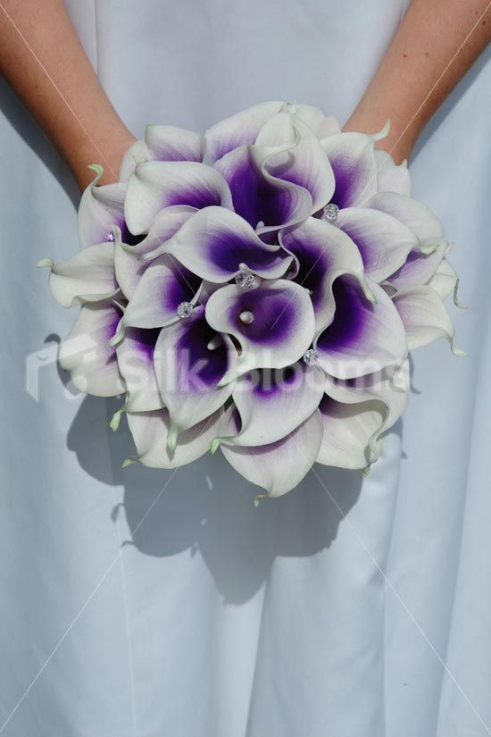 silk calla lily bouquets white with purple center | ... Wedding Bouquet with Artificial Purple Centred White Picasso Lilies