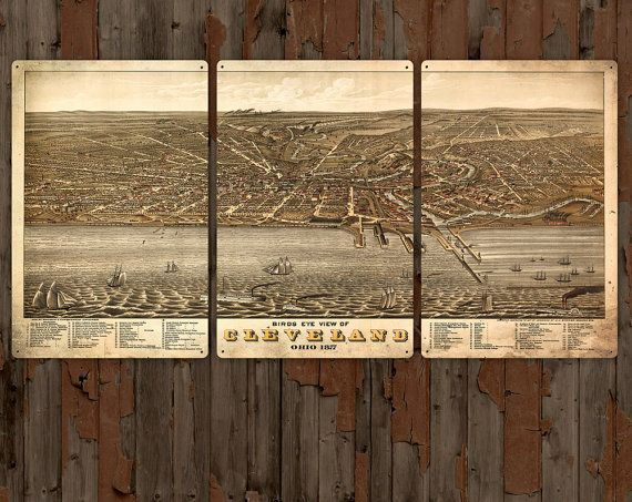 "Vintage Map of Cleveland, Ohio METAL Triptych 48x24""  FREE SHIPPING"