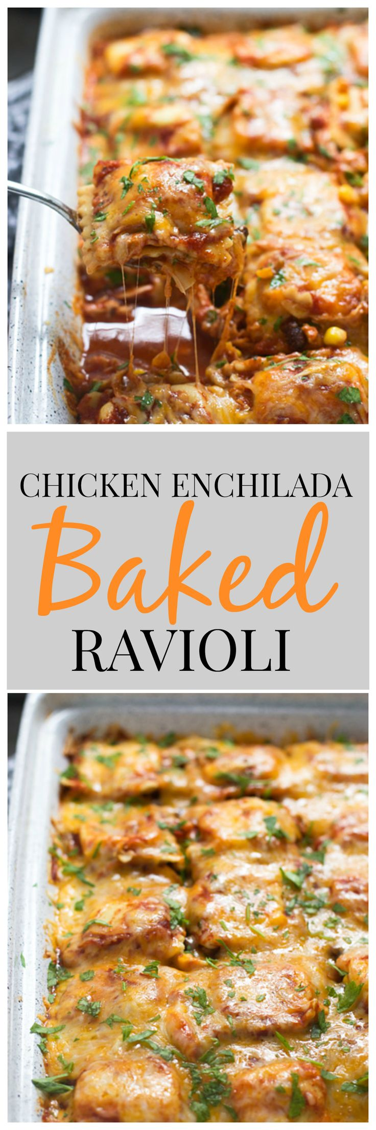 Chicken Enchilada Baked Ravioli - An easy, weeknight dinner the whole family will love!