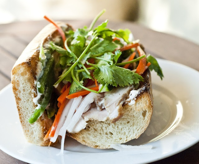 Banh Mi Xa Xiu (Vietnamese Sandwich with BBQ Pork) - Vietnamese sandwiches (banh mi): a magical combination of flavors and textures inside a beautiful French bread crust