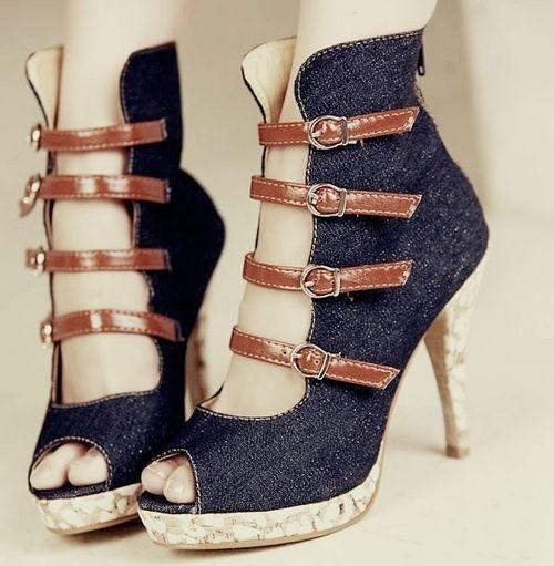 a little high for me but i love themHot Stuff, Denim Jeans, Highheels, Corks, High Heels, Blog, Jeans Dresses, Workout, Denim Shoes