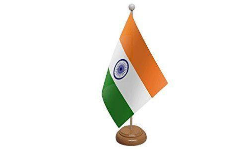 UKFlagShop 9`` x 6`` India Indian Large Desktop Table Flag With Wooden Base
