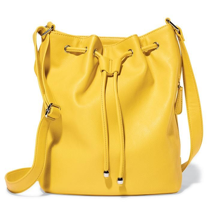 The must-have fully-lined bucket bag style in summer's hottest hues. Can be worn over-the-shoulder or crossbody. Features a pebble leatherlike finish, drawstring with ball hardware, grommets at the top and a snap closure. Regularly $24.99, buy Avon Fashion online at http://eseagren.avonrepresentative.com