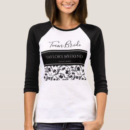 #Black and White Damask Team Bride (or other) T-Shirt - #Bachelorette #T-shirts #Bride #Squad #Teambride