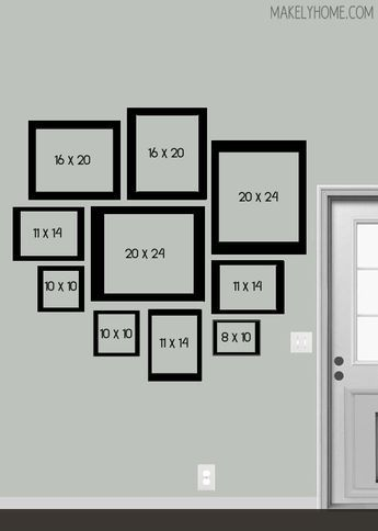 """I also like this gallery wall design - though it's a little too """"round"""" for my taste. Blog post also includes a digital rendition of the layout with photos in it."""