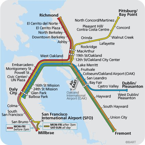 BART :plan du métro de San Francisco, États-Unis
