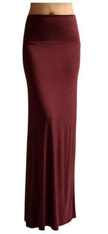 Solid Banded Waist Foldover Maxi Skirt (Burgundy) – Niobe Clothing