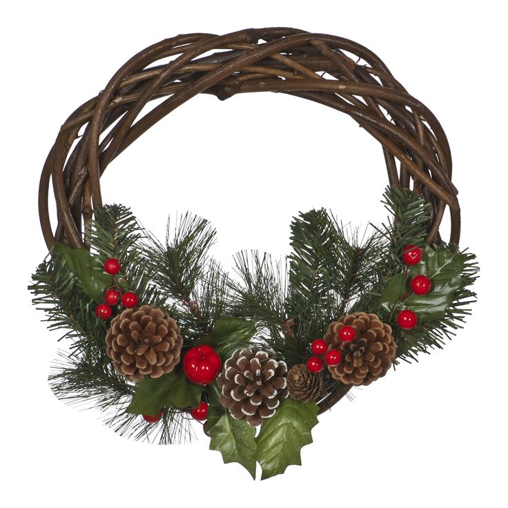 Holly Leaf Rattan Wreath, Green/Brown, 40cm