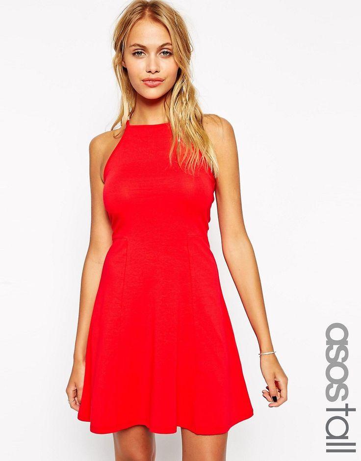 Короткое приталенное платье в стиле 90-х с высоким воротом ASOS TALL - Красный