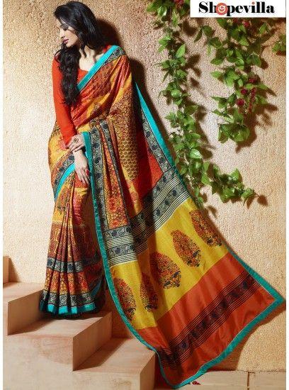 Multi Colour Bangalore Silk Lace Border Trendy Saree-609