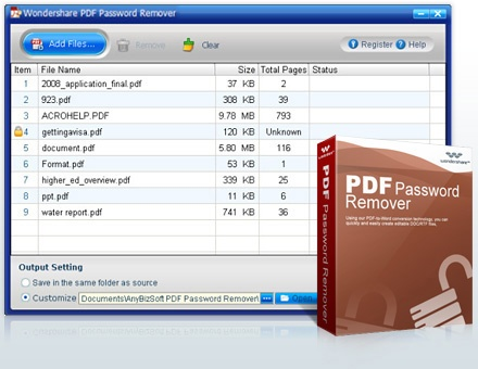 PDF files with password? Don't worry, Wondershare PDF password remover can help you to remove the password. Just give it a try >> Wondershare PDF Password Remover, Remove PDF Password --> http://www.wondershare.com/pro/pdf-password-remover.html