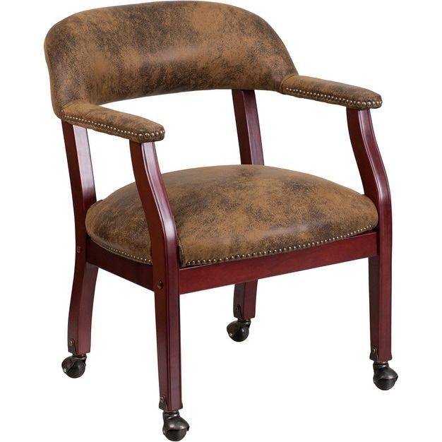 iHome Kolding Decor Bomber Jacket Brown Luxurious Conference Chair w/Casters