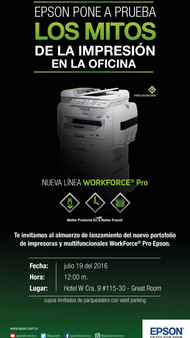 Epson pone a prueba los mitos de la impresión en la oficina: Nuevo portafolio impresoras y multifuncionales Epson WorkForce Pro Epson @epsonlatinoamerica #mitosdelaimpresion