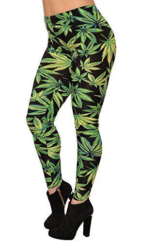 BadAssLeggings Women's Cannabis Crush Leggings Green - 420 Shop