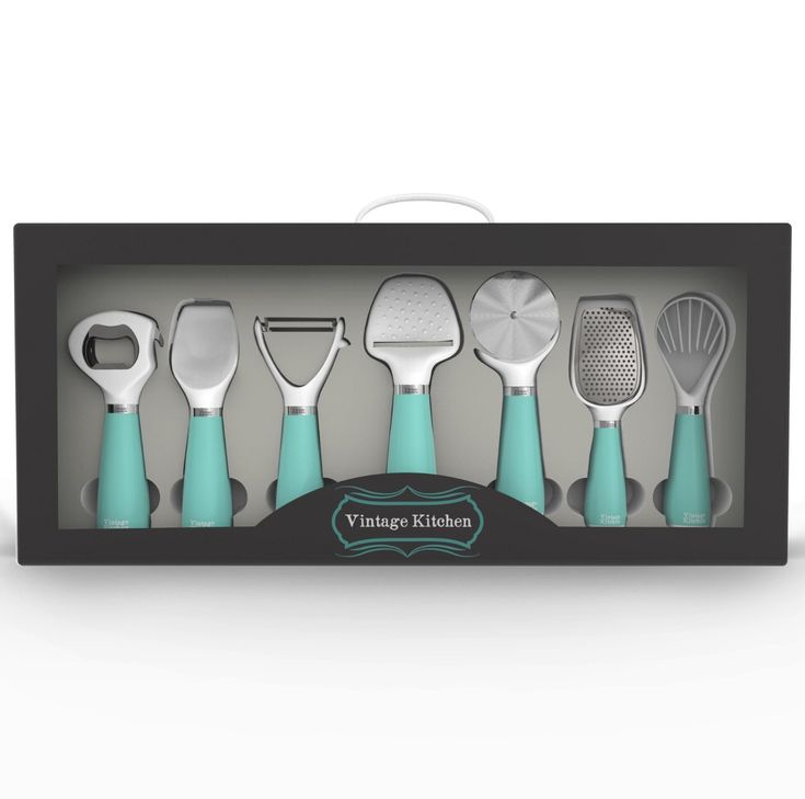 This stylish 7-piece Turquoise Kitchen Gadget Utensil Tool Set will help with day-to-day food preparation including peeling, scooping, slicing, grating and opening. $24.95 Sale $19.95. Buy here. Related posts: Whale-Tail Measuring Cups Seahorse Bottle Opener Blue Ceramic Mason Jar Collection