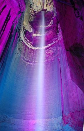 Ruby Falls is a 145-foot high underground waterfall located within Lookout Mountain,