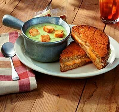 Cracker Barrel grilled cheese and green tomato and ham soup. Yum!!!