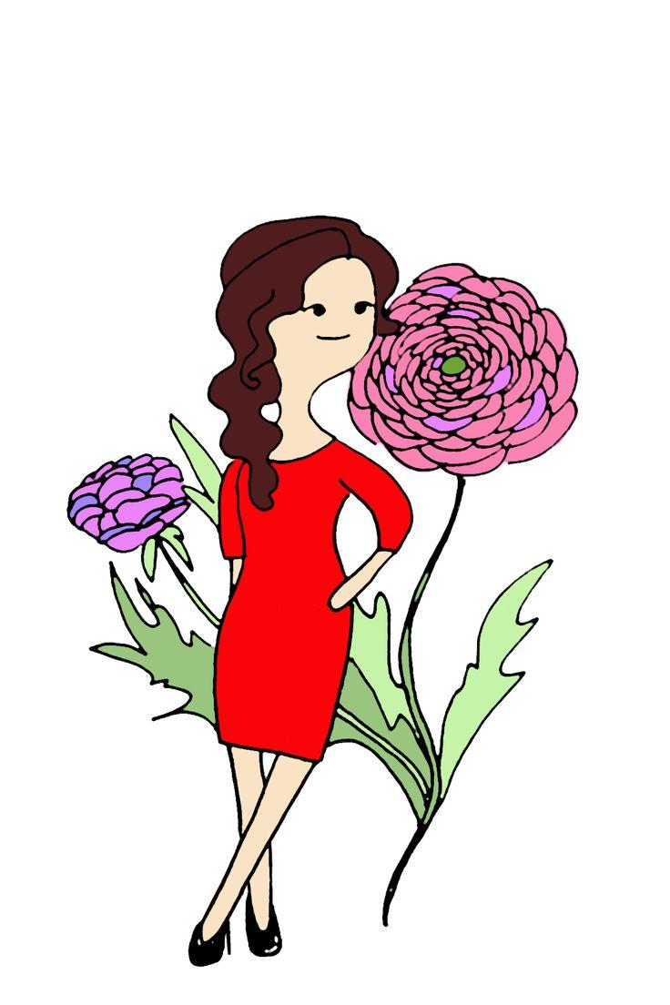 Открытка, девушка лютик садовый, ранункулюс, лето
