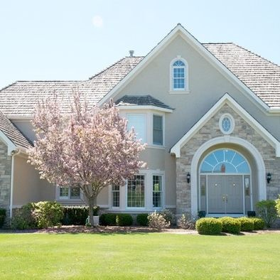Traditional photos and stars on pinterest for Siding and stucco combinations