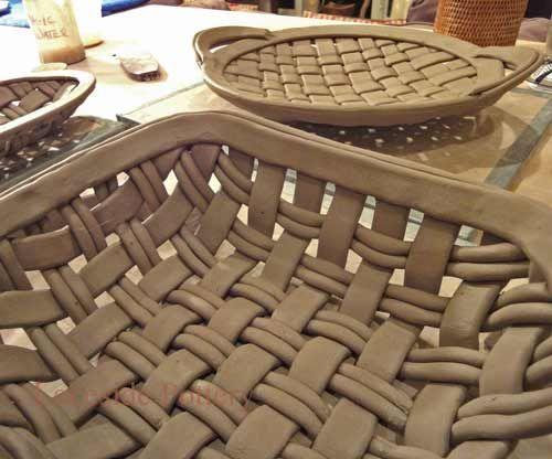 tejer cestas con arcilla extruido