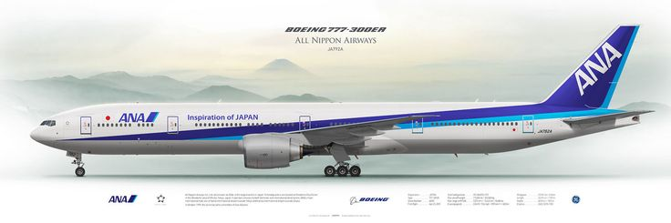 Boeing 777-300ER All Nippon Airways JA792A | Airliner Profile Art Prints | www.aviaposter.com | #airliners #aviation #jetliner #airplane #pilot #aviationlovers #avgeek #jet #boeing #b777 #ana