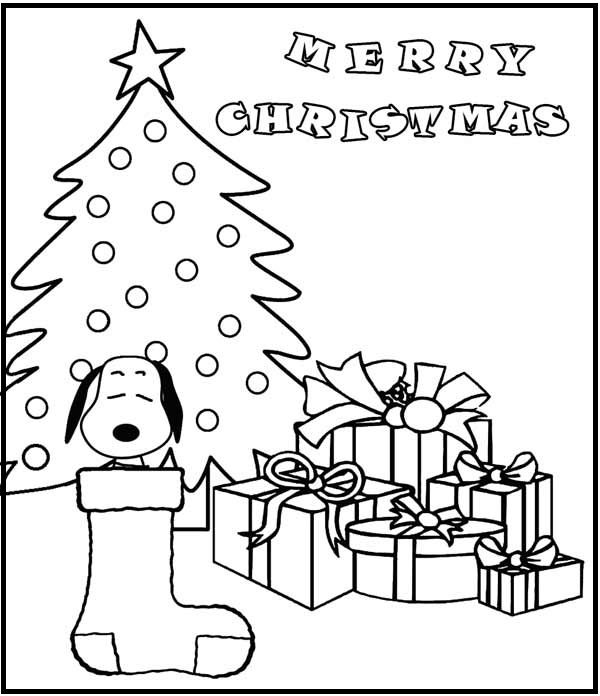Merry Christmas Of Snoopy Coloring Picture For Kids