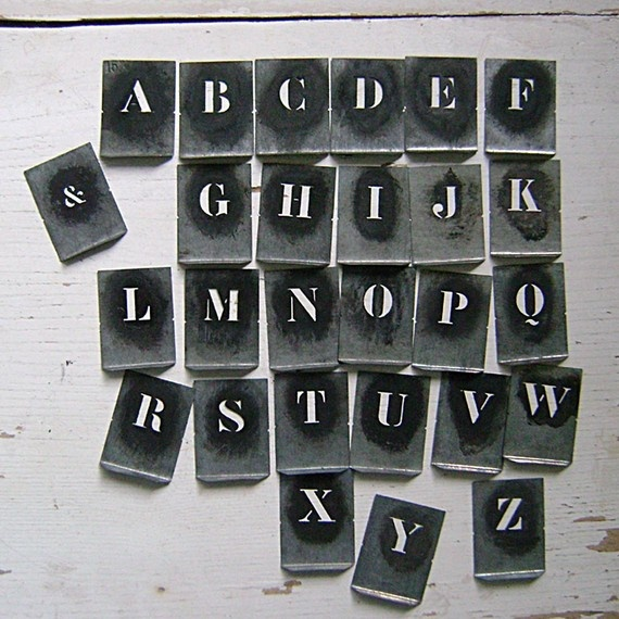 vintage metal letter stencils