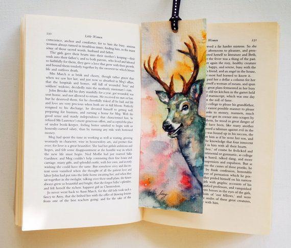 Original Watercolor Bookmark of Deer Handpanted Bookmark