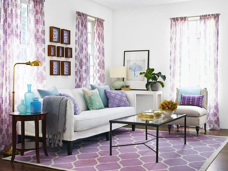 Color Inspiration White Walls Furniture With Purple And Blue Accents