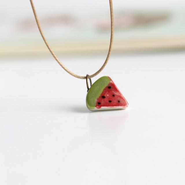 Ceramic Watermelon Necklace - 100% Handmade and Hand painted Ceramic Jewelry. This delicate little Pendant and Necklace will look good no matter what you are wearing, and go with any Occasion! #original #handmade