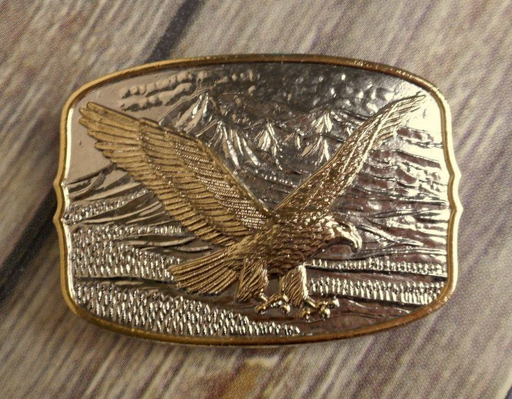 Vintage Eagle Belt Buckle Silver Gold Retro Trucker Fashion Country Western  #Unbranded