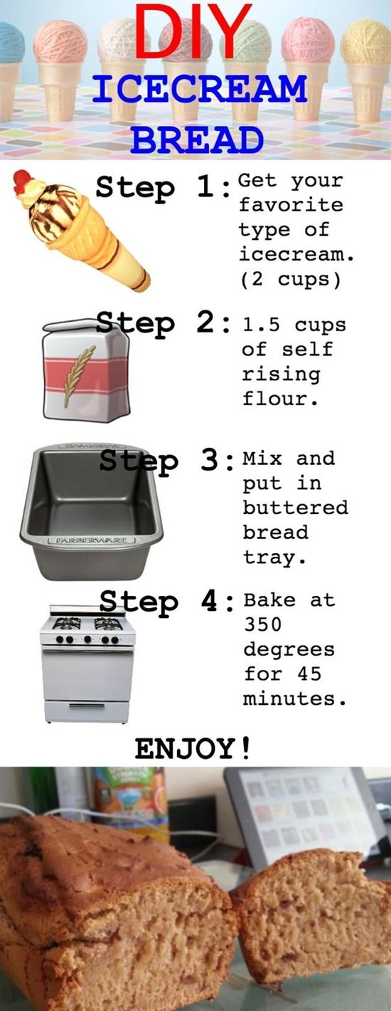 Ice Cream Bread - This sounds so good!  You say you don't have any self-rising flour? No worries, you can make your own. For every cup of flour add 1 1/2 tsp baking powder and 1/2 tsp salt (sift together).