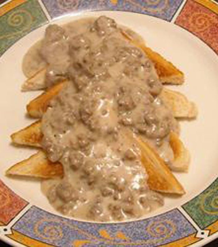 "Army SOS Creamed Ground Beef ""Like biscuits n gravy but with beef n toast"""