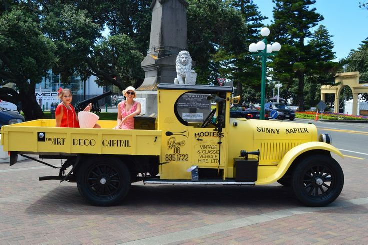 The Hooters truck with our beautiful Art Deco Ambassadors for 2012/2013. Art Deco Weekend, Napier NZ. www.hooters-hire.co.nz